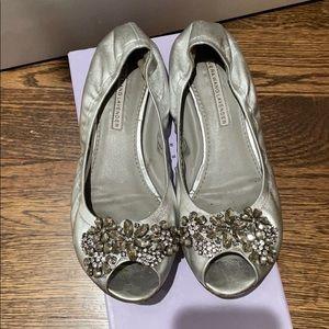 Vera wang open toe ballerina loafer shoe Silver